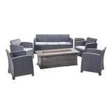 Melik Outdoor 7-Seater Wicker Print Chat Set with Fire Pit and Tank Holder