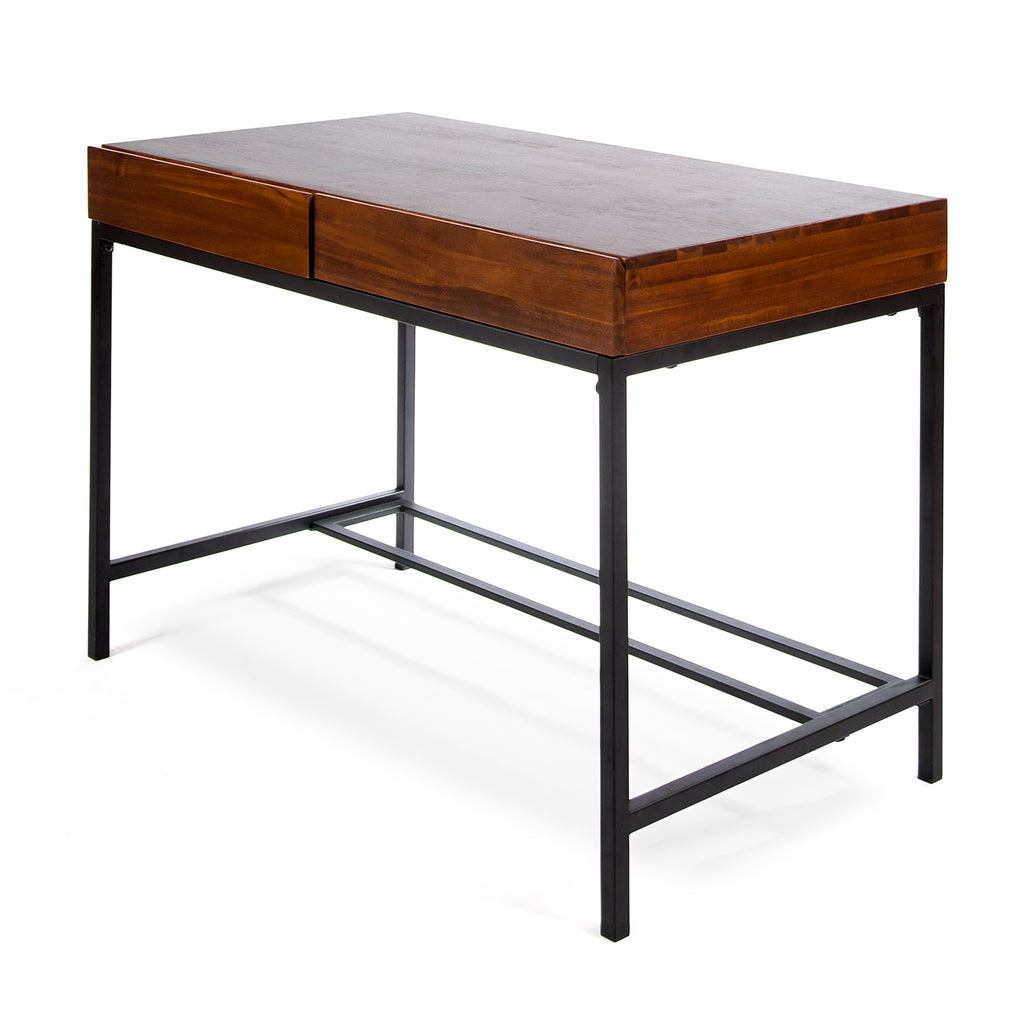 Elrod Industrial Dark Oak Acacia Wood Storage Desk with Rustic Metal Iron Accent