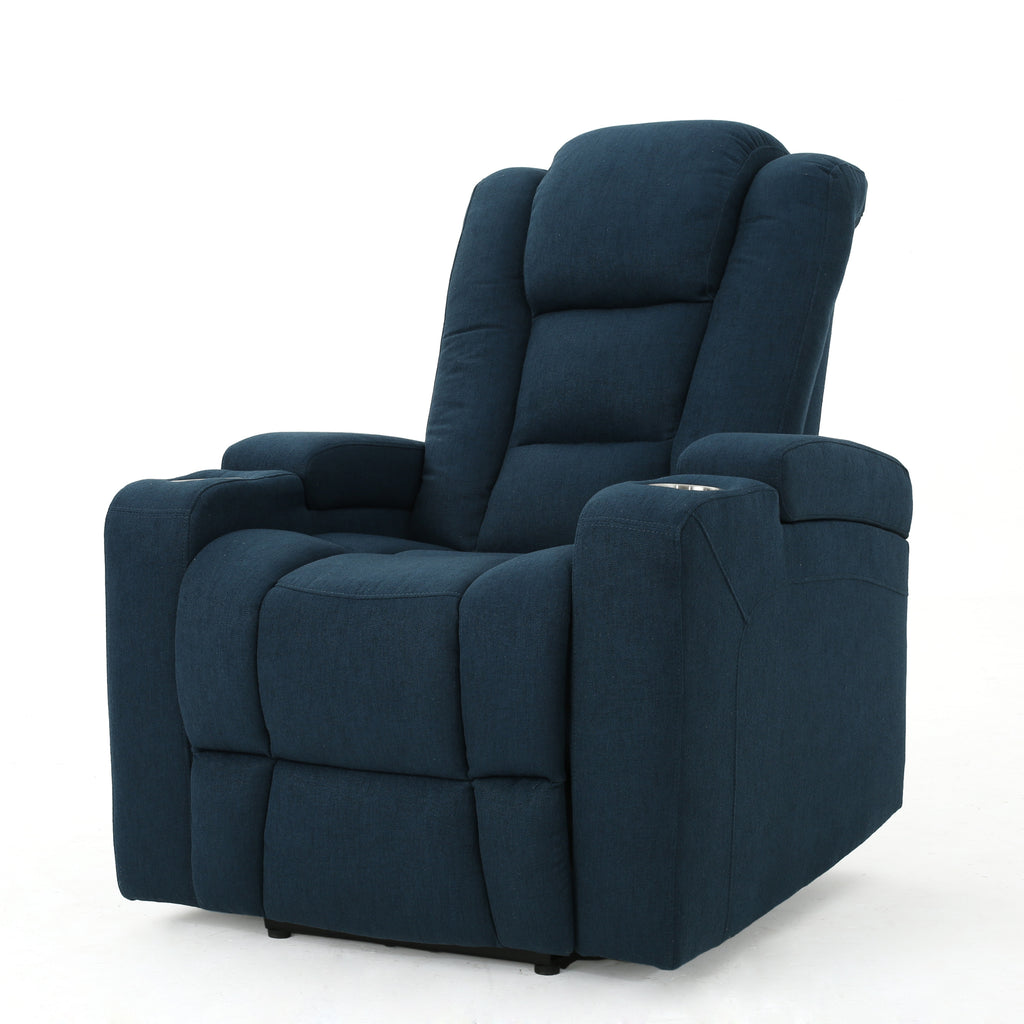 Everette Fabric Power Recliner with Cup Holder, USB Charger, and Storage