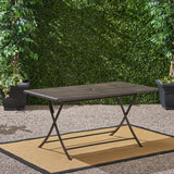 Riley Outdoor Multi-brown Wicker Rectangular Foldable Dining Table