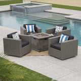 Archer Outdoor 5 Piece Wicker Swivel Club Chairs with Brown Gas Fire Pit