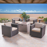 Fuller Outdoor 4 Piece Club Chair Set with Square Fire Pit