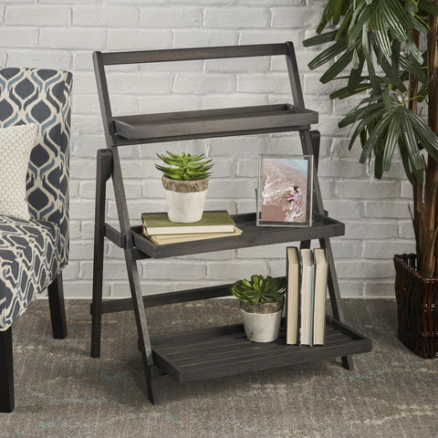 Cleo Indoor Chic Dark Grey Acacia Wood Plant Stand