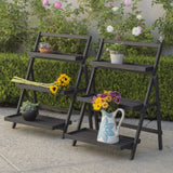 Mesbin Outdoor Dark Grey Acacia Wood Plant Stand (Set of 2)