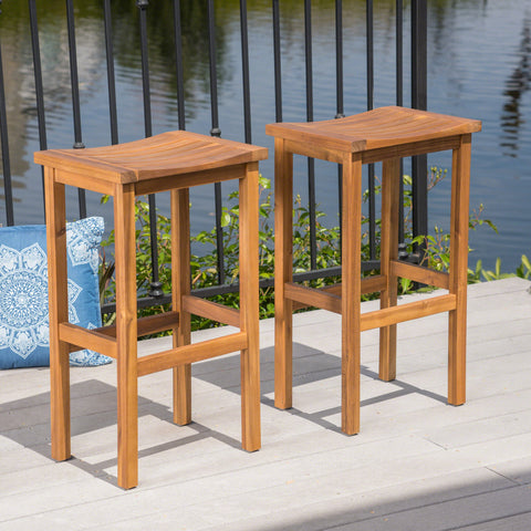 Cassie Outdoor 30 Inch Acacia Wood Barstools