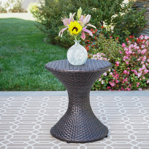 Frances Outdoor 16 Inch Multi Brown Wicker Hourglass Side