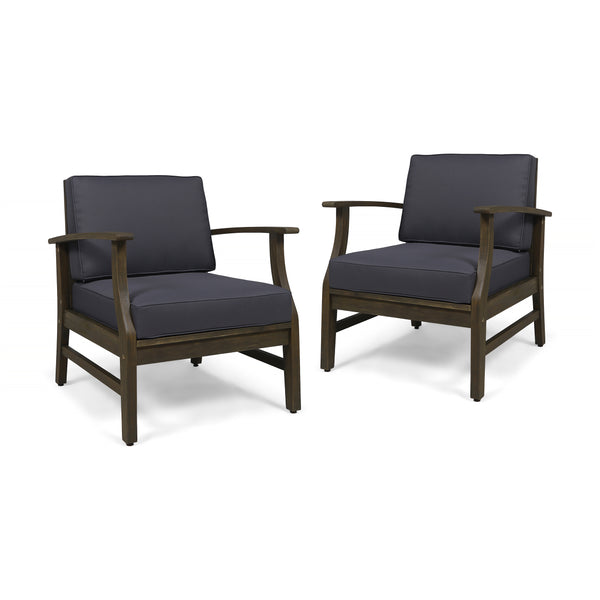 Simona Outdoor Acacia Wood Club Chairs with Cushions