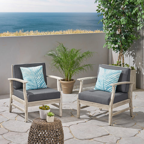 Fanny Outdoor Acacia Wood Club Chairs with Cushions (Set of 2), Light Gray and Dark Gray