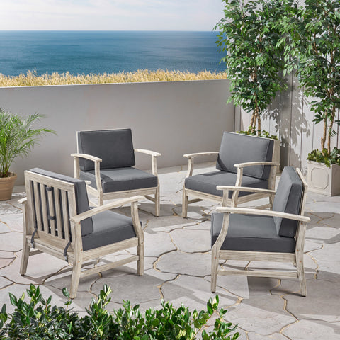 Fanny Outdoor Acacia Wood Club Chairs with Cushions (Set of 4), Light Gray and Dark Gray