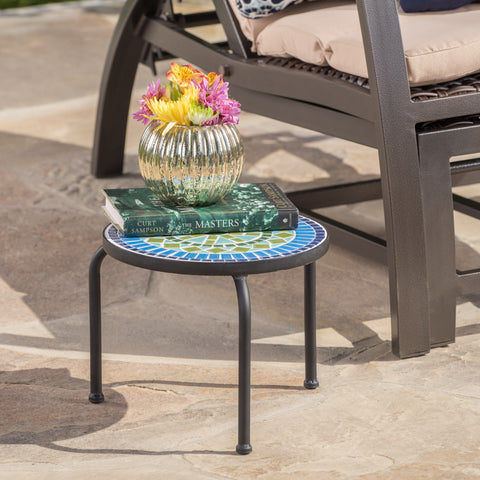 Isildur Outdoor Blue & Green Ceramic Tile Iron Frame Side Table