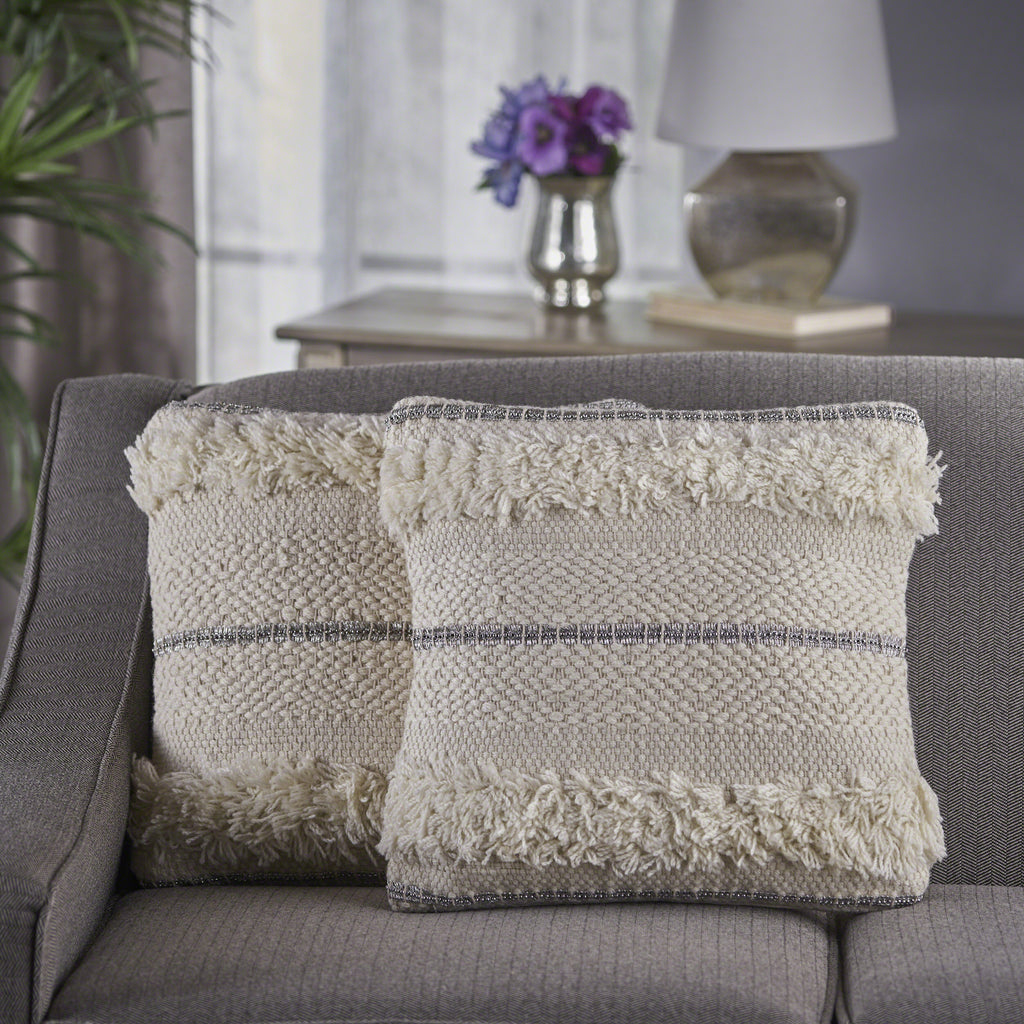 Miles Handcrafted Boho Fabric and Lace Pillow