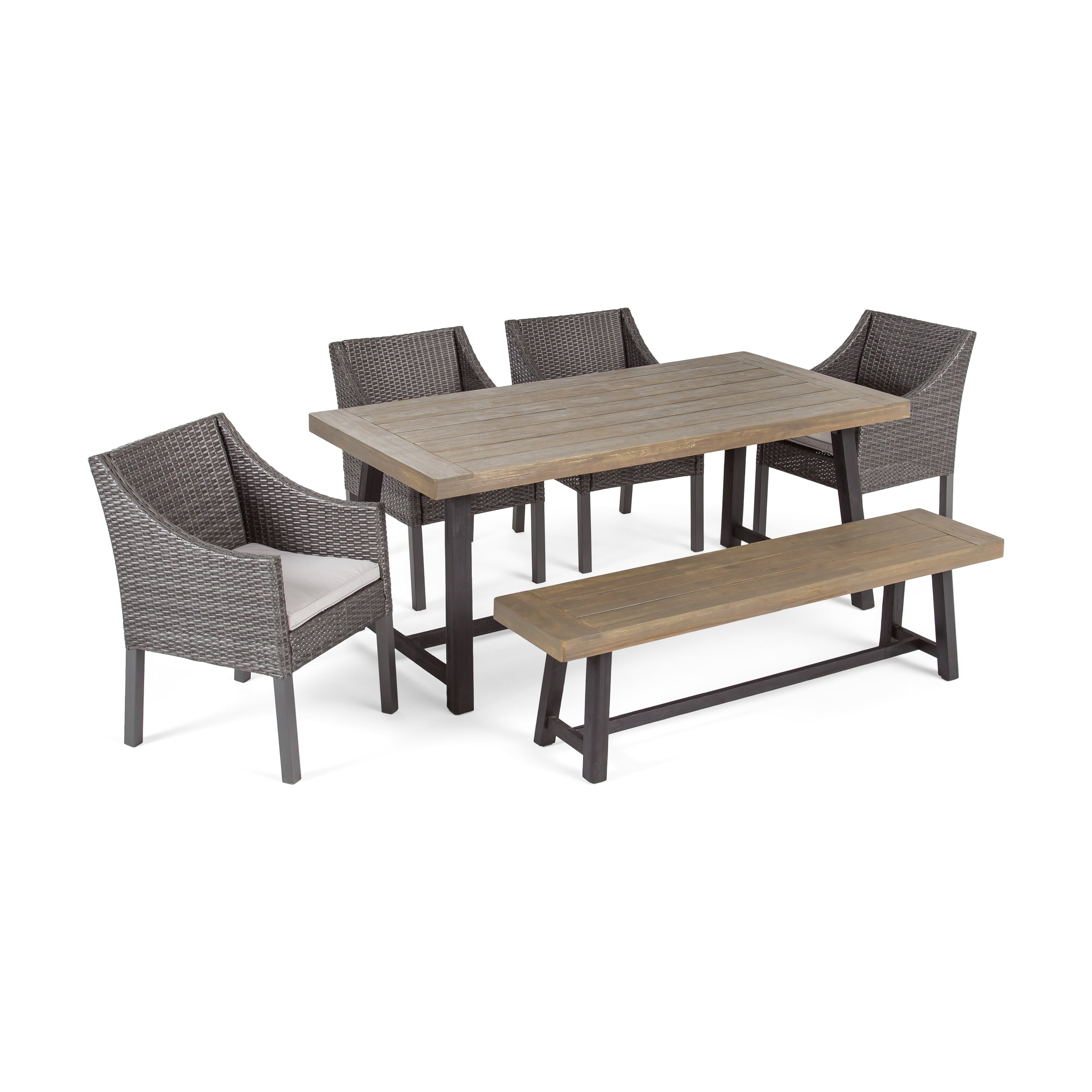 Anniston Outdoor 6 Piece Dining Set with Wicker Chairs and Bench Default Title