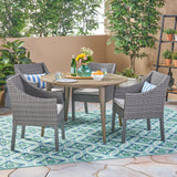 Shipp Outdoor 5 Piece Wood and Wicker Dining Set