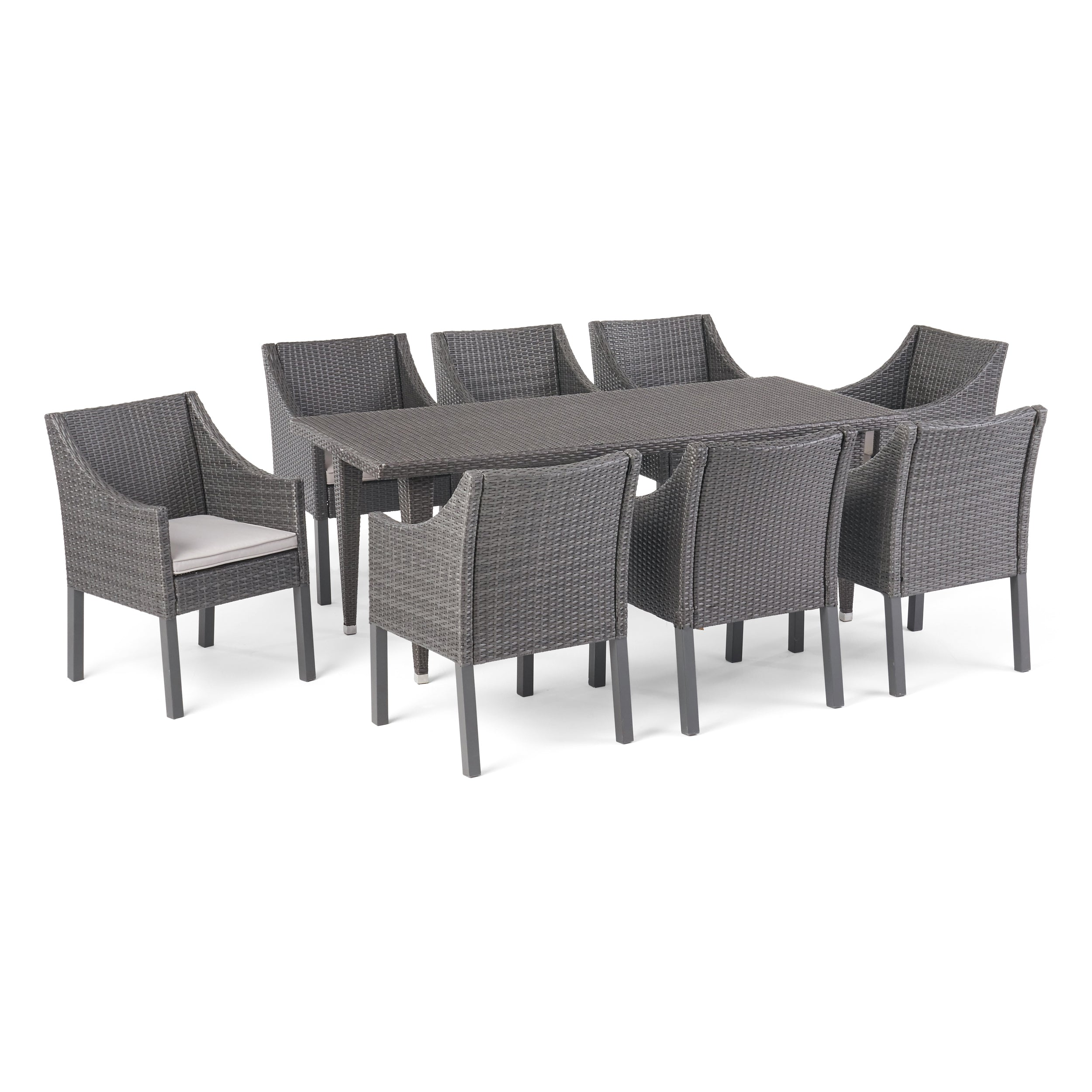 Alanna Outdoor 9 Piece Wicker Dining Set with Water Resistant Cushions GraySilver