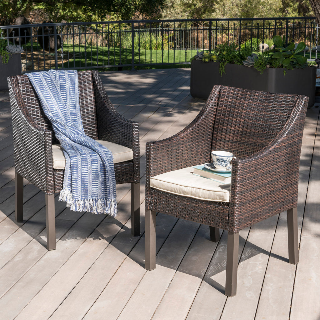 Antioch Outdoor Wicker Dining Chairs With Water Resistant Cushions (Set Of  2)