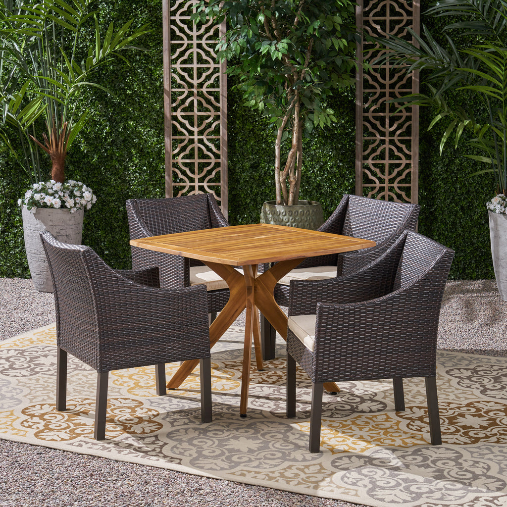 Tarry Outdoor 5 Piece Wood and Wicker Dining Set
