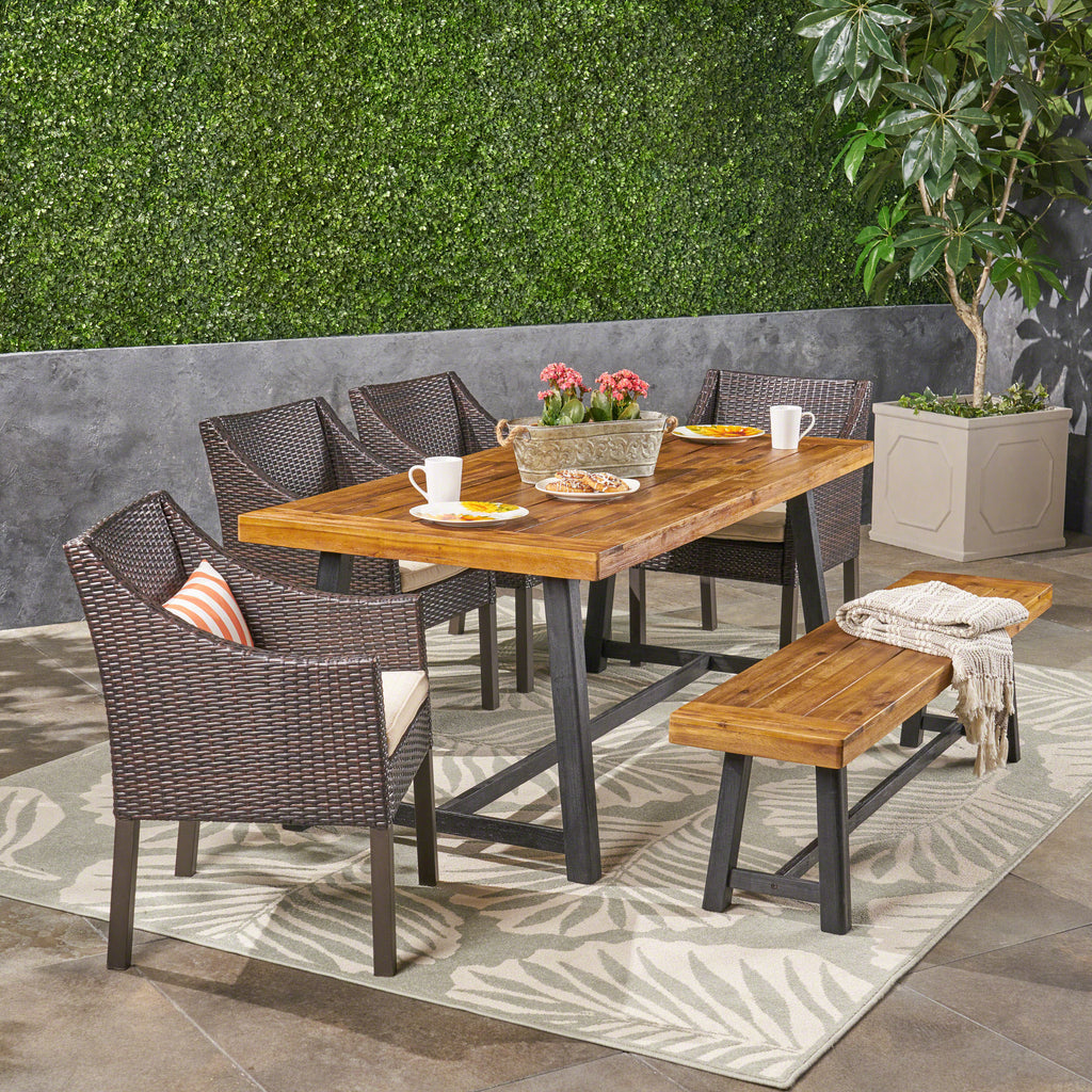 Kane Outdoor 6 Piece Dining Set With Wicker Chairs And
