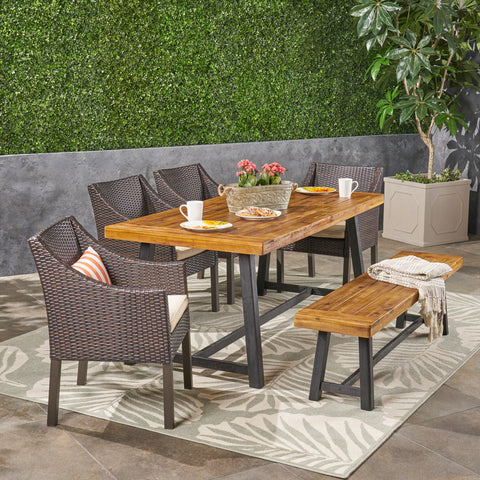 Kane Outdoor 6 Piece Dining Set with Wicker Chairs and Bench, Sandblast Teak and Multi Brown and Beige