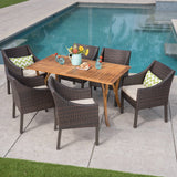 Abel Outdoor 7 Piece Acacia Wood/ Wicker Dining Set with Cushions, Teak Finish and Multibrown with Beige