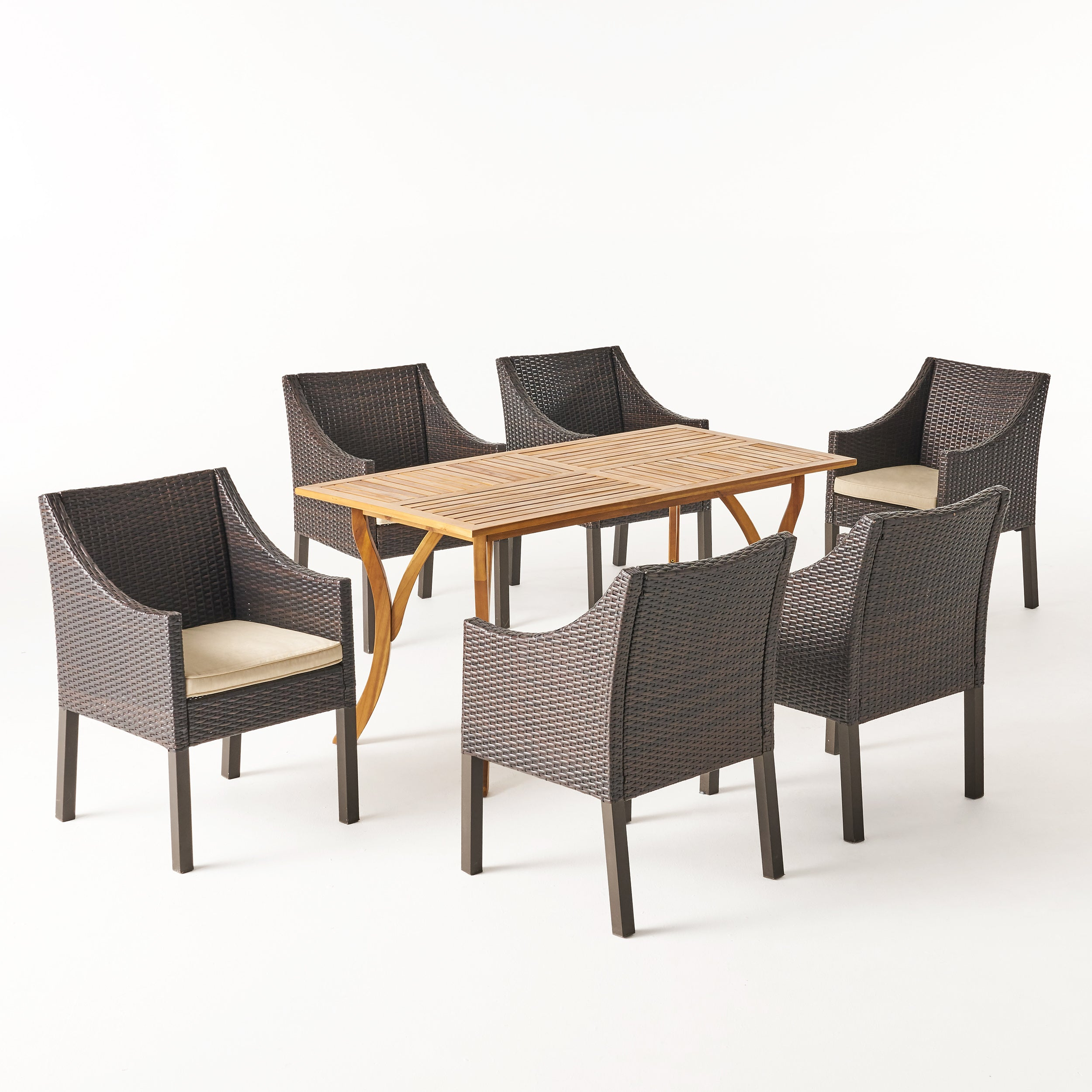 Abel Outdoor 7 Piece Acacia Wood Wicker Dining Set with Cushions Teak Finish and Multibrown with Beige