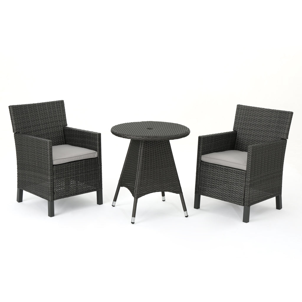 Cyril Outdoor 3 Piece Wicker Dining Set with Water Resistant Cushions