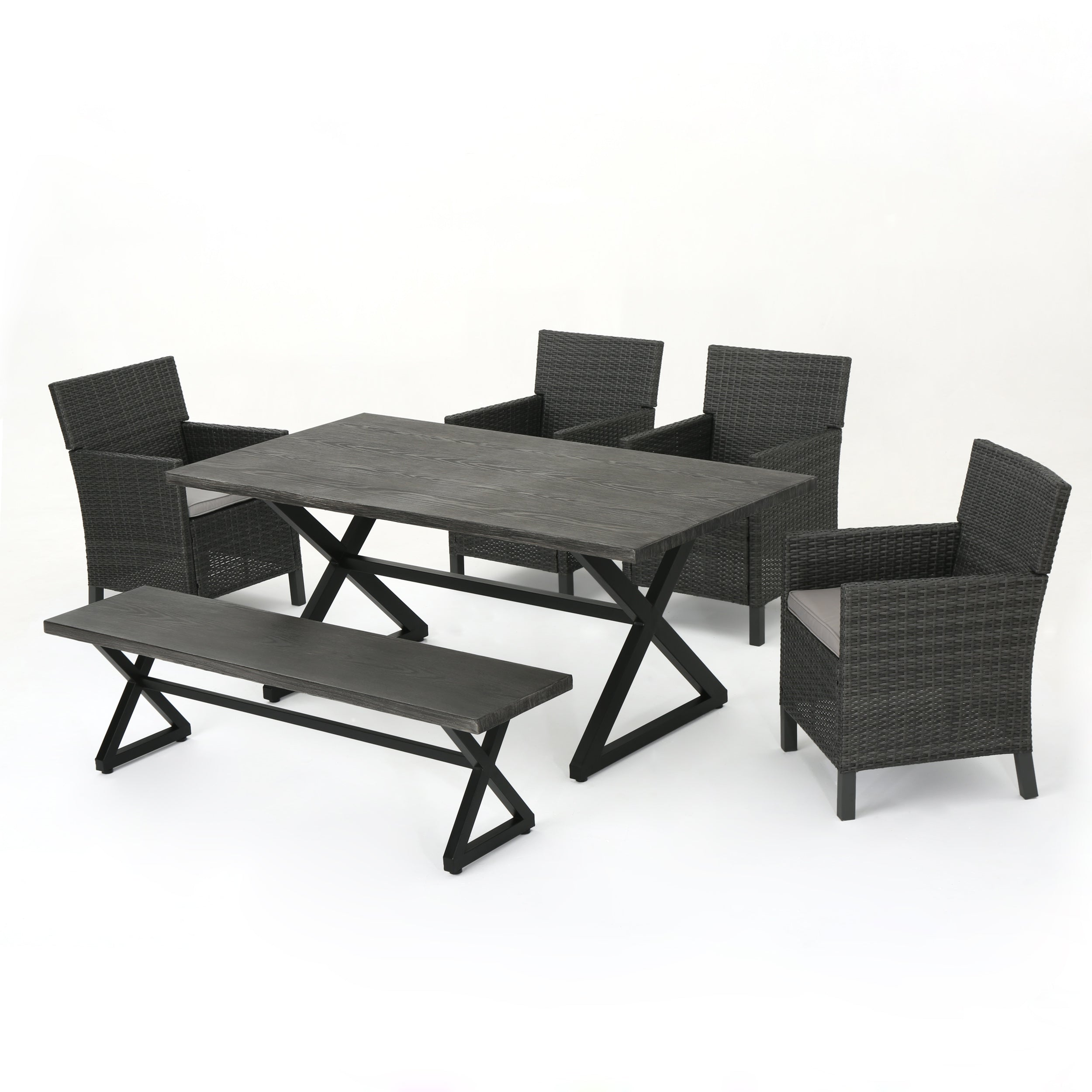 Ainna Outdoor 6 Piece Wicker Dining Set with Aluminum Dining Table GrayLight Gray