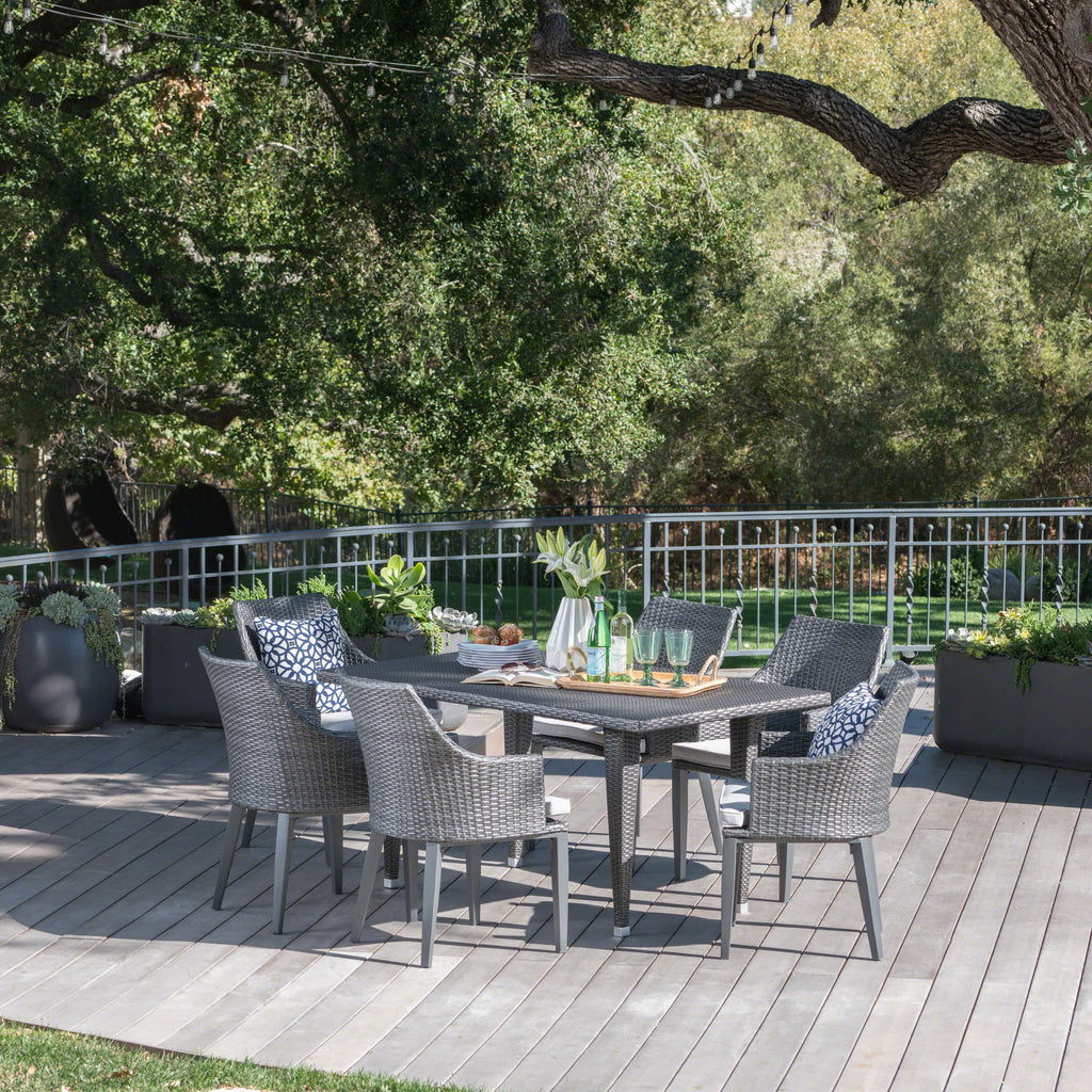 Lenny Outdoor 7 Piece Gray Wicker Dining Set with Water Resistant Cushions