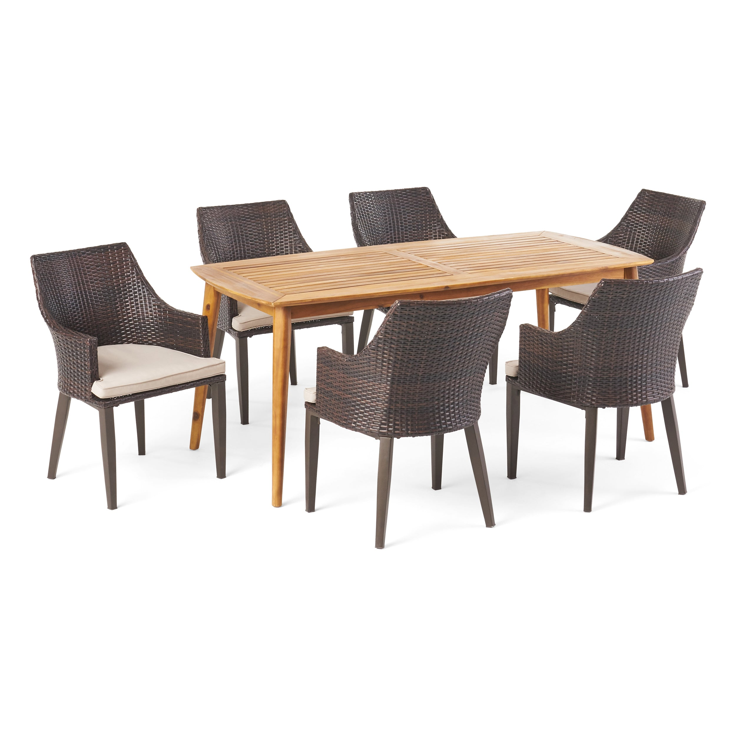 Allentown Outdoor 7 Piece Multi brown Wicker Dining Set with Acacia Wood Table Default Title