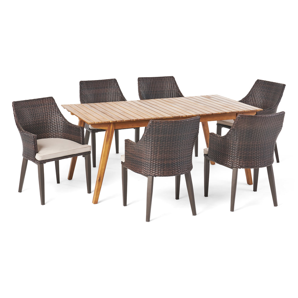 Hestor Outdoor 7 Piece Teak Finished Acacia Wood Rectangular Dining