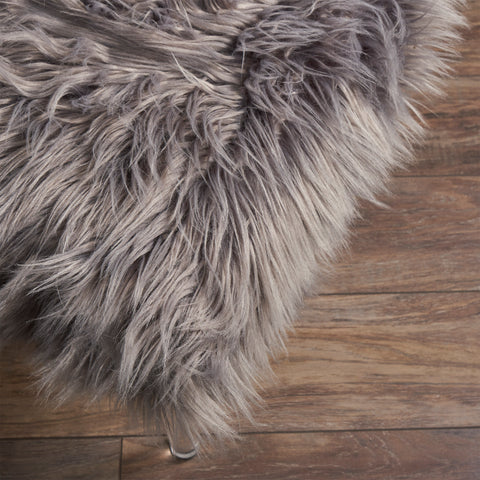 Klamma Glam Faux Fur Short and Straight Furry Ottoman
