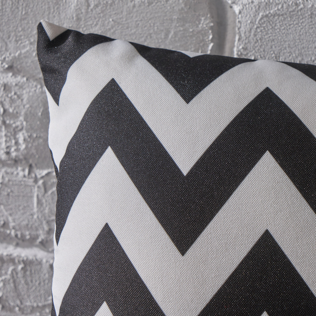 Ernest Indoor Black and White Zig Zag Striped Water Resistant Throw Pillow