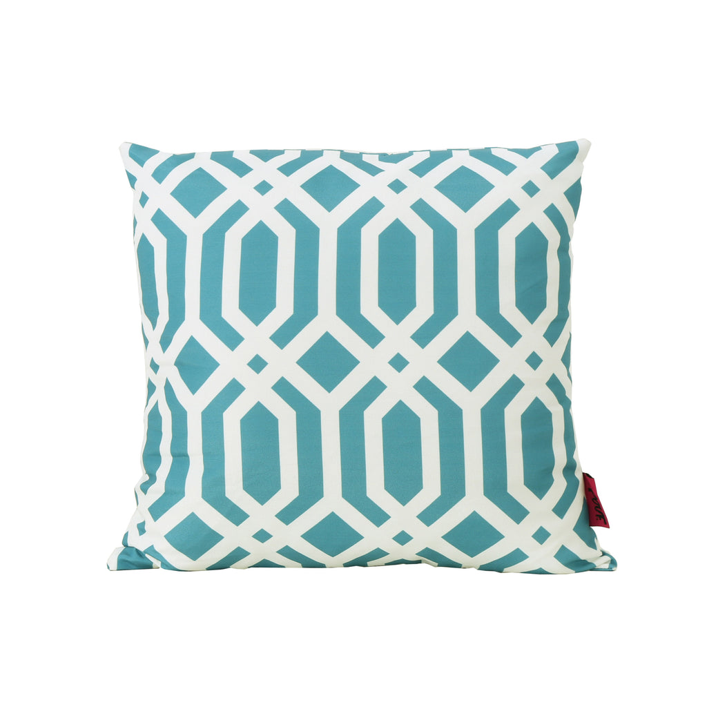 Manduka Outdoor Dark Teal Arabesque Patterned Water Resistant Square Pillow
