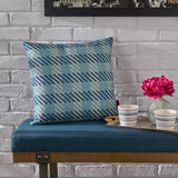 Lathan Indoor Blue Plaid Water Resistant Square Throw Pillow