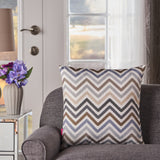 Callon Indoor Grey, Blue, and Brown Zig Zag Striped Water Resistant Square Throw Pillow