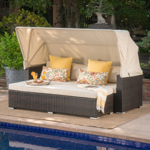 Grayson Outdoor Aluminum Framed Wicker Sofa With Water