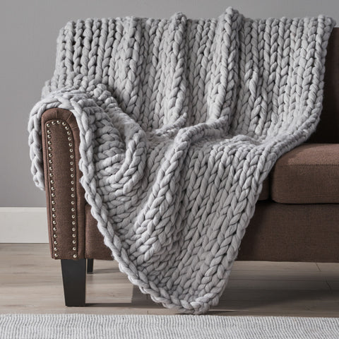 Jacqueline Modern Knit Stitch Fabric Rectangle Throw Blanket