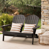 Vivian Outdoor Acacia Wood Adirondack Loveseat