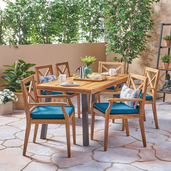Justin Outdoor 7 Piece Acacia Wood Dining Set