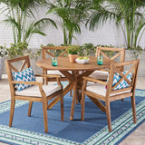 Jordan Outdoor 5 Piece Acacia Wood Dining Set