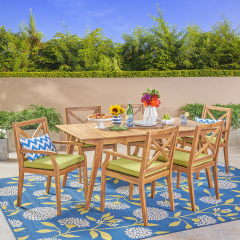 Alva Outdoor 7-Piece Acacia Wood Iron Dining Set