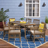 "Spring Acacia Patio Dining Set, 6-Seater, 71"" Oval Table with Straight Legs"