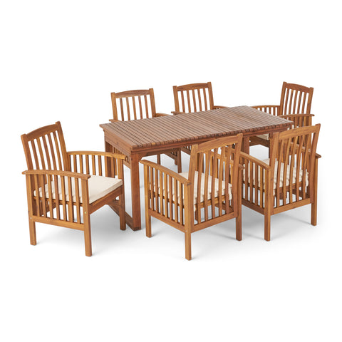 Bowdon Outdoor 6 Seater Expandable Acacia Wood Dining Set