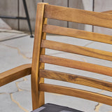Esther Patio Dining Chairs, Acacia Wood and Outdoor Cushions