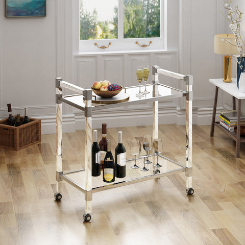 Hilary Modern Glass Bar Trolley