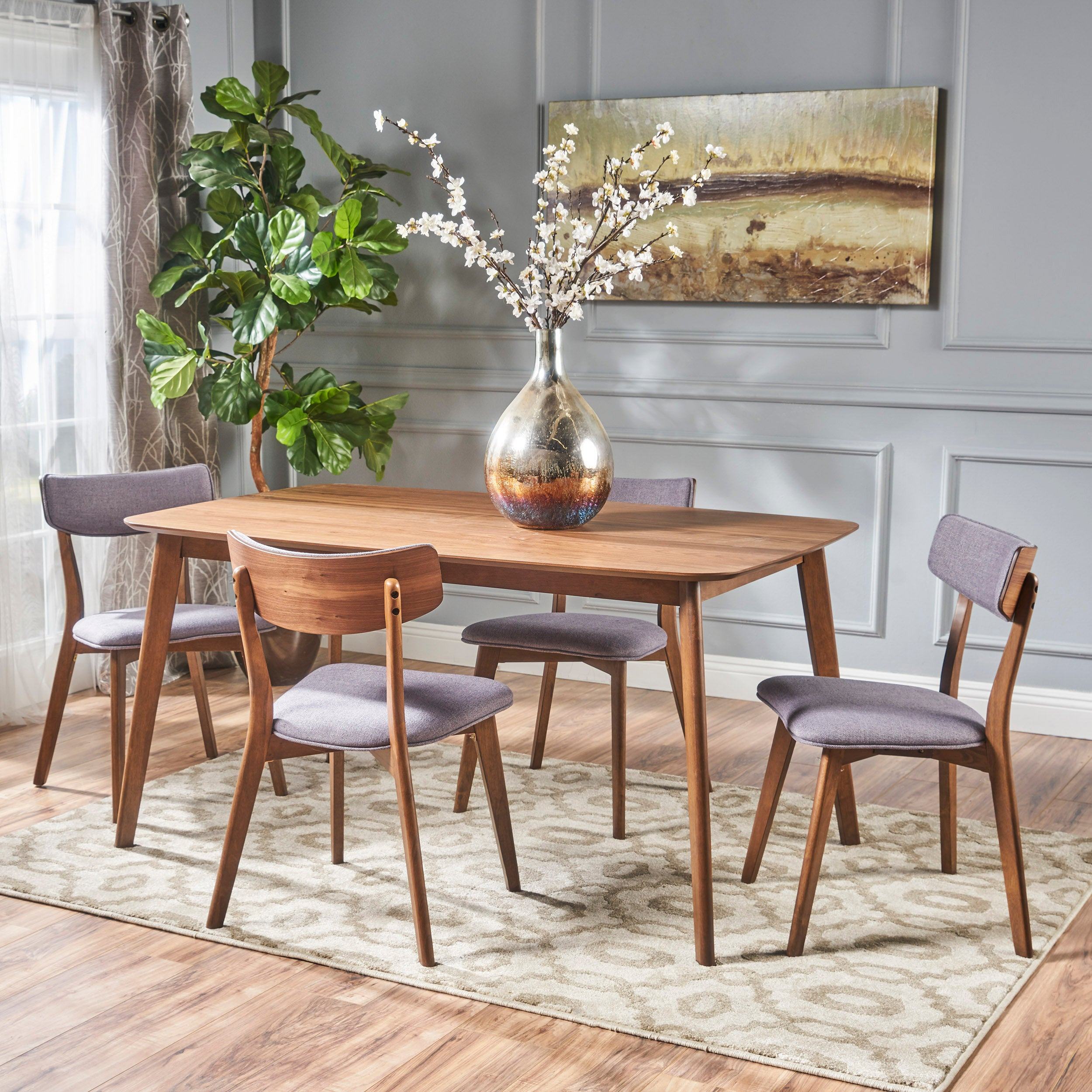 Aman Mid Century Finished 5 Piece Wood Dining Set with Fabric Chairs Light Beige Natural Walnut