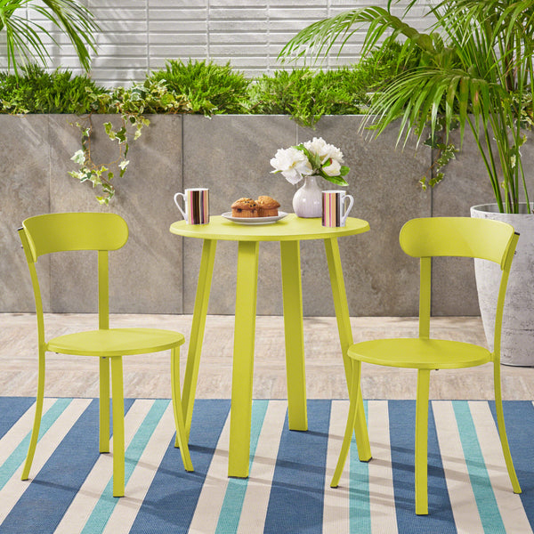 Larson Outdoor Bistro Set, Matte Lime Green