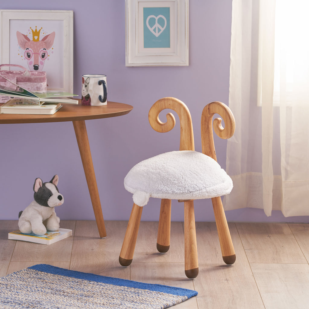 Tarren Stoolimals Collection Faux Fur Sheep Stool
