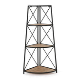 Trisha Industrial 3 Shelf Firwood Corner Bookcase