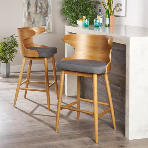 Truda Mid Century Modern Fabric Barstools (Set of 2)
