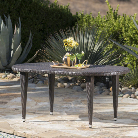 Domo Outdoor 69 Inch Wicker Oval Dining Table